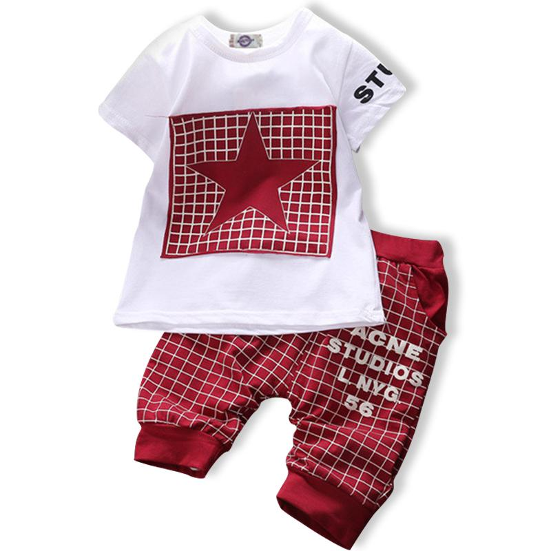 New Boys clothing set Summer new Casual 100% cotton Plaid with five-star print for 1 2 3 Years old infant clothes 2pcs
