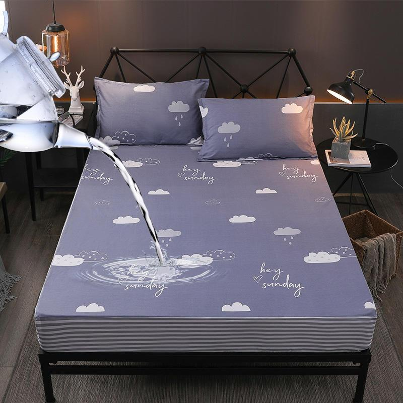 drap de lit sabanas Cotton Waterproof Fitted Sheet Twin Queen Size Bed Sheets With Elastic Mattress Cover160X200cm/180X200cm
