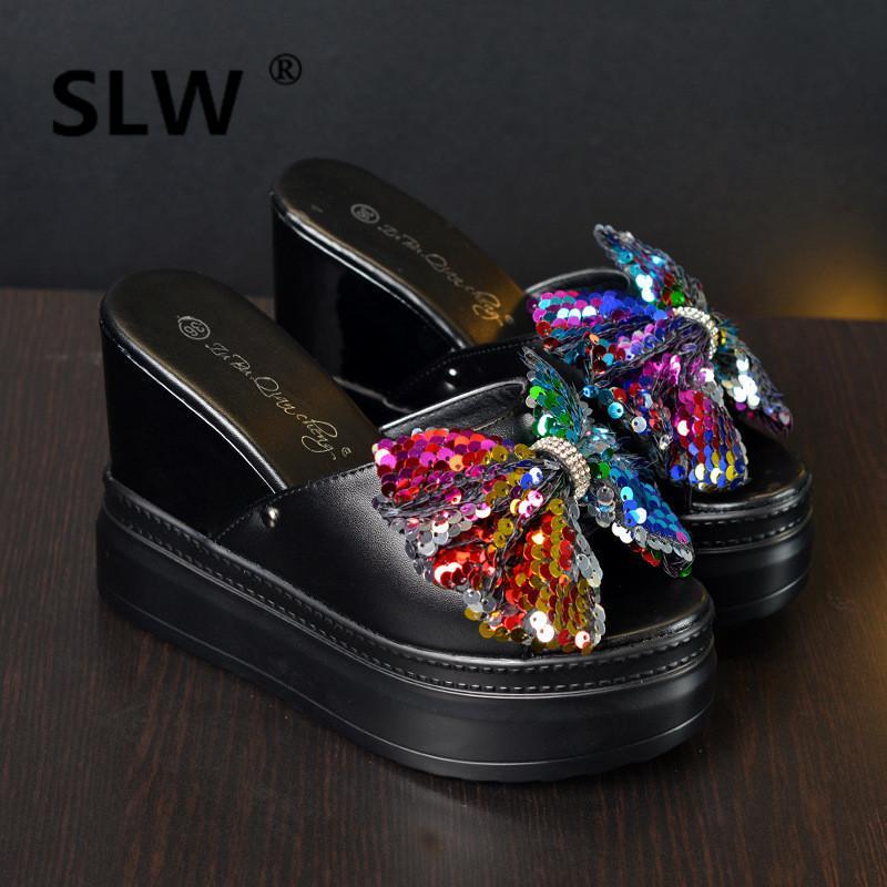 95186e482b68 Summer New Muffins Peep Toe Wedges Sandals Female Platform Slides Glitter Bling  Bow Knot Flip Flop Woman 12cm High Heels Boys Slippers Acorn Slippers From  ...