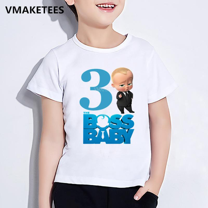 Maglietta per bambini Happy Birthday Gift Girls Boys Maglietta per bambini The Boss Baby Number 1-9 Print T-Shirt Cartoon Funny Baby Clothes, hkp5268