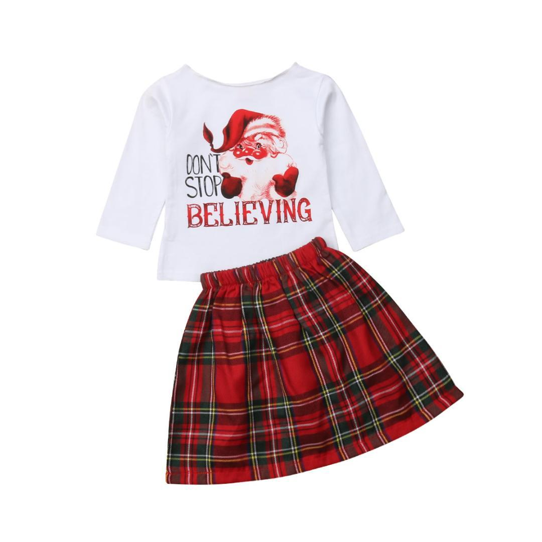 f409e9ce1776 2019 Toddler Baby Girls Christmas Outfits Clothes Toddler Princess T Shirt+Tutu  Plaid Skirts Sets Fashion Little Girls Costumes From Newestable