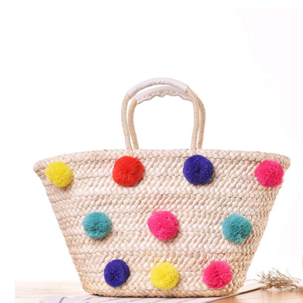 2385069e0 Women Beach Bag Pom Poms Ball Straw Rattan Holiday Shopping Tote Shoulder  Bags Straw Woven Handbags With Colorful Pom Ball Leather Bags Shoulder Bags  From ...