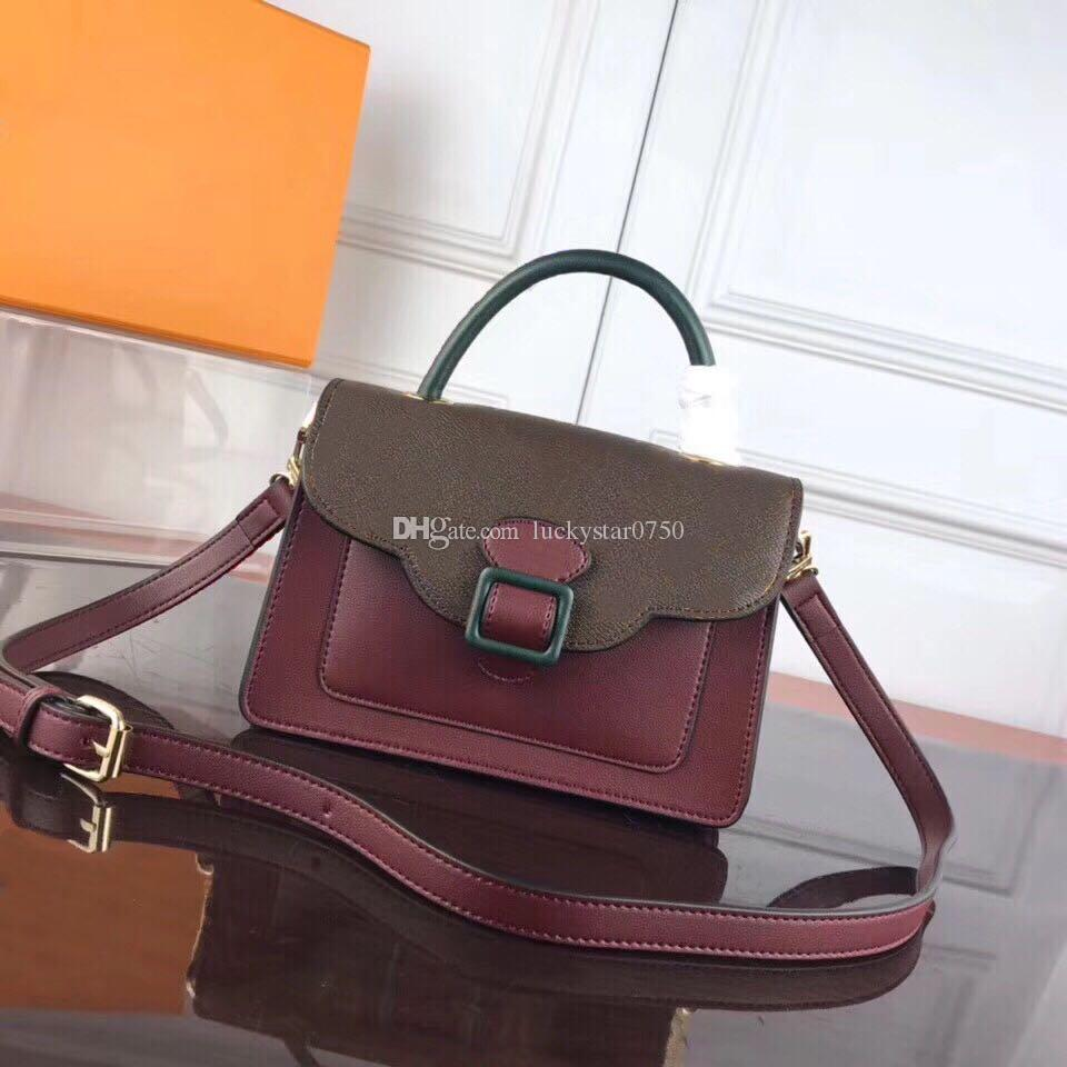 Fashion classic one-shoulder broadband handbag hit color small leather Messenger fashion ladies OL commuter original messenger bag old flowe