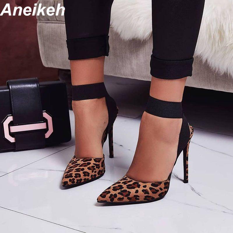 b4f21392df Compre Vestido Aneikeh 2019 New Sexy Moda Gladiador Sandálias Sapatos De Salto  Alto 11 Cm Fino Bombas De Salto Alto Sapatos De Leopardo Das Mulheres  Tamanho ...