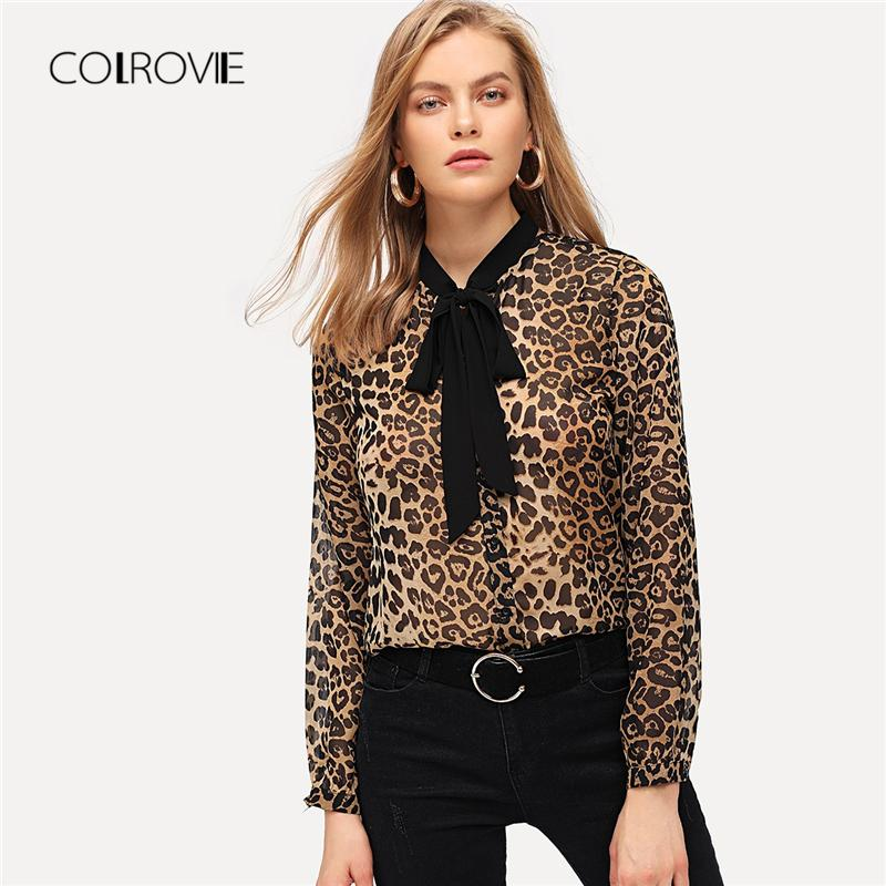 96ec40cb5a087 2019 COLROVIE Tie Neck Leopard Print Casual Blouse Women Clothing 2018  Winter Streetwear Fashion Shirt Office Ladies Tops And Blouses From  Misssixty