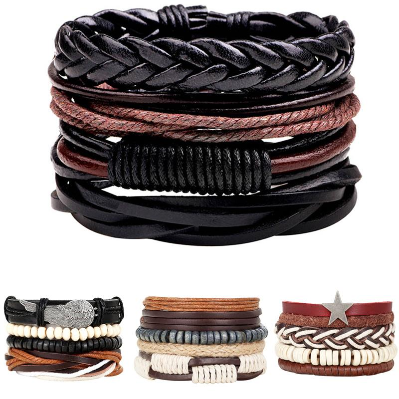 New 3/4pcs/Set Vintage Multiple Charm Bead Bracelet For Men Women Fashion Wristband Leather Bracelets Bangle dropshipping guitar