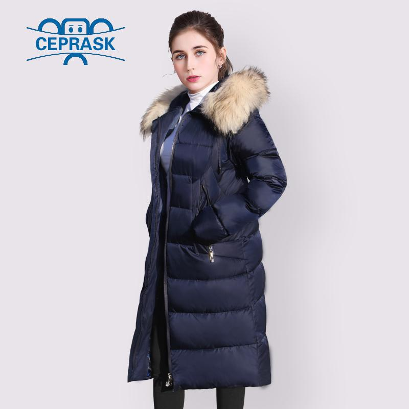 f89aa3b303 2019 CEPRASK 2019 New High Quality Thick Parkas Real Raccoon Fur Winter  Jacket Women Plus Size Long Hooded Warm Winter Coat Outerwear From  Combocai