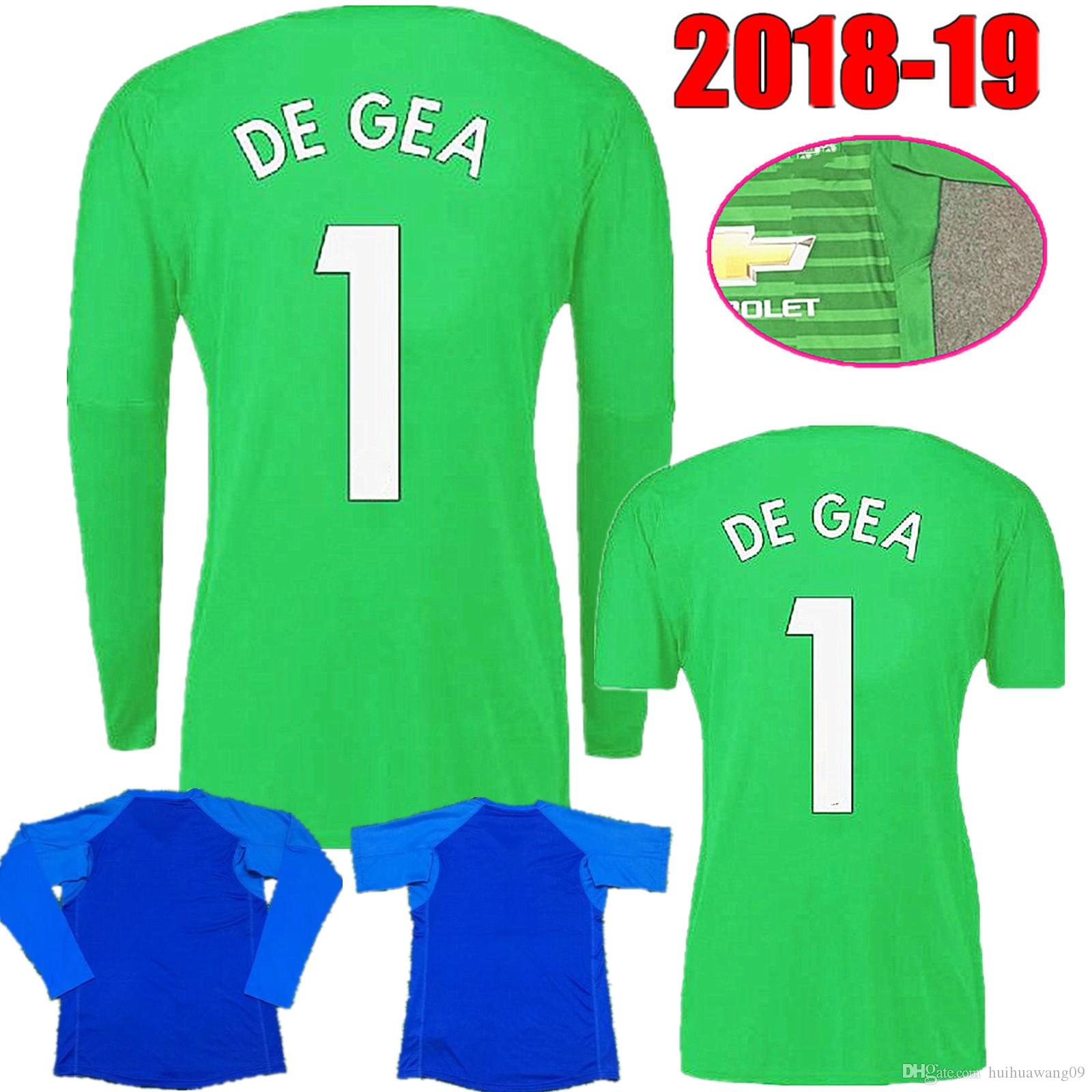 d1f4ae1b9 2019 2018 2019 Men Adults Long Sleeve  1 De Gea Goalkeeper Jerseys Blue  Green Soccer Jerseys Short Sleeve Romero United Football Shirts From  Huihuawang09