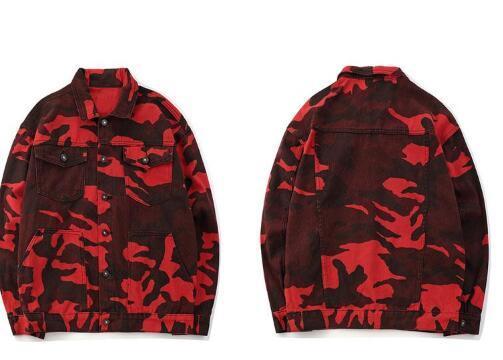 Männer Rot Camo Camouflage Denim Jacken Frauen Hip Hop Lässige Jeansjacke Mäntel Männlichen 2018 Herbst Mode Streetwear