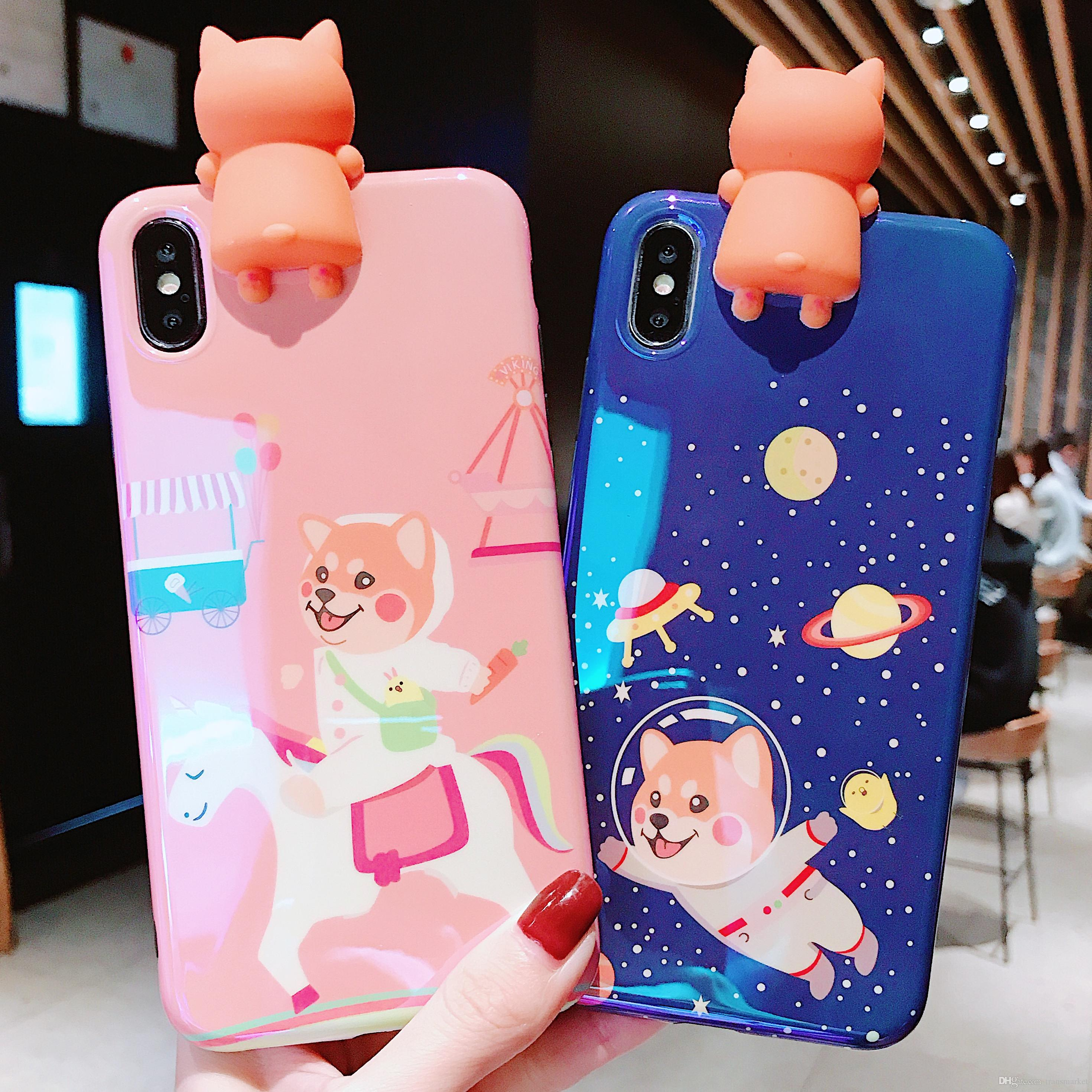 Fashionable Blu-ray Dog Pattern Phone Case with Kneeling Dog Mobile Phone  Cover For Iphone Xs Max/XS/XR/X