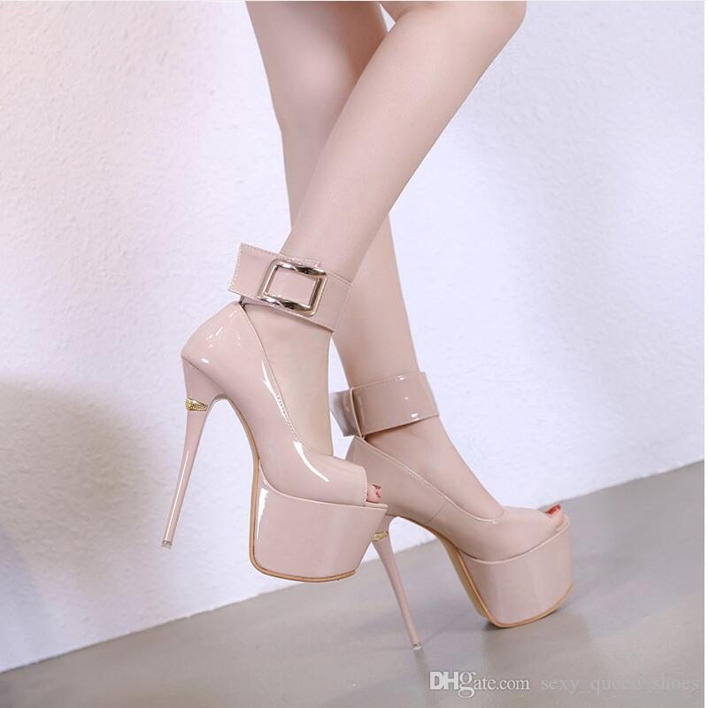 f88be4217394 2019 Women Platform Pumps Square Buckle High Heels Patent Leather Party  Shoes Fashion Sexy Peep Toes Thin Heel Black Beige 16cm Mens Chelsea Boots  Pink ...
