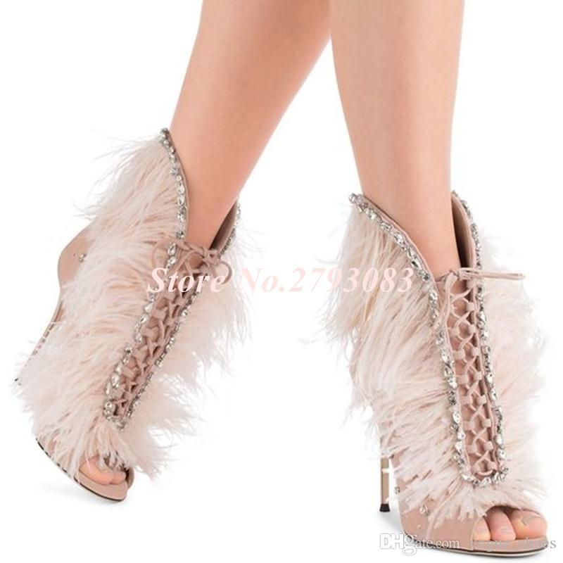 9d48a50d2 Sandals Women Sweet Bling Bling Crystal Feather Ankle Sandals Boots  Stiletto Heels Pink Red Open Toe Beaded Embellished Wedding Shoes Platform  Heels Black ...