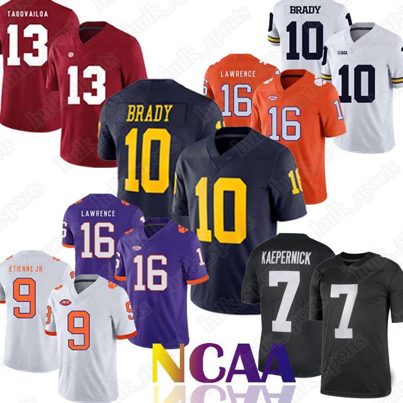 promo code 1d4be 01a38 NCAA Michigan Wolverines jerseys 10 Tom Brady 13 Tua Tagovailoa 16 Trevor  Lawrence 9 Travis Etienne Jr. 7 Kaepernick. jersey