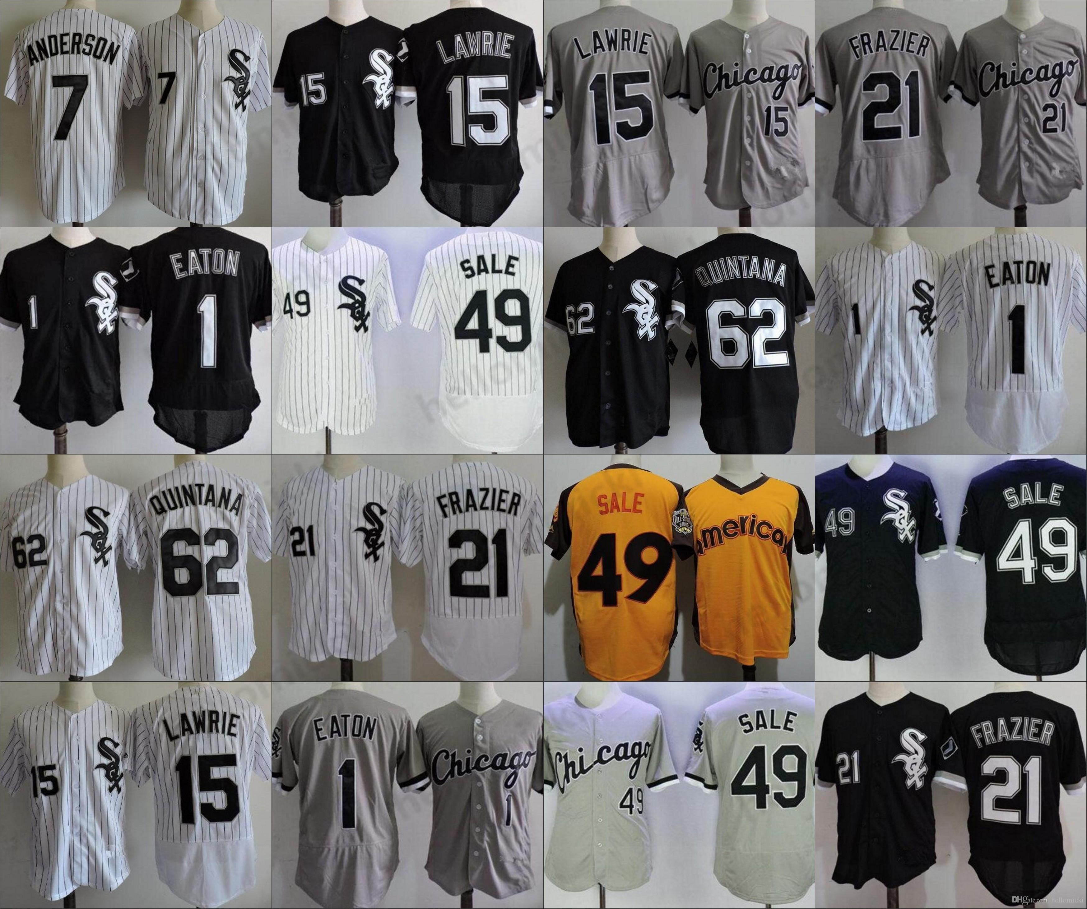 hot sale online ccdfe c05c4 Mens baseball jersey Jose Quintana 1 Adam Eaton 15 Brett Lawrie 21 Todd  Frazier 49 Chris Sale stitched jerseys