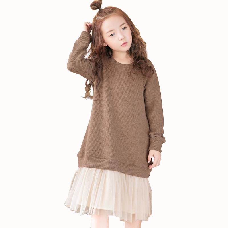 low priced f3f63 1f4b7 Vestito da ragazza caldo di spessore Abiti da festa di compleanno di  compleanno in maglia di pizzo Inverno Bambini Vestiti da ragazza  Abbigliamento ...
