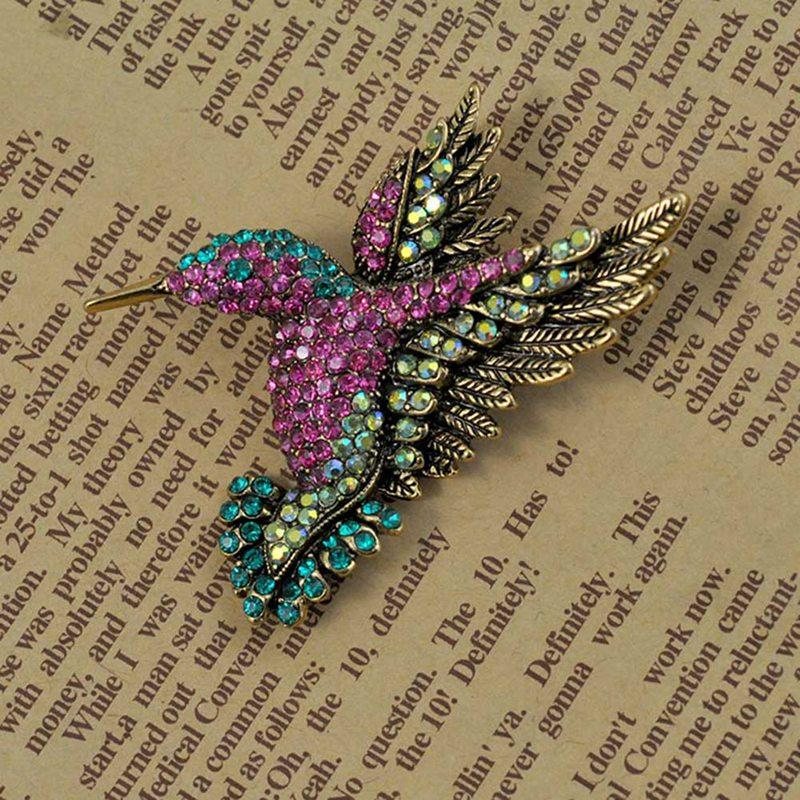 Colorful Rhinestone Hummingbird Brooch Animal Brooches for Women Korean Fashion Accessories jewelry pins