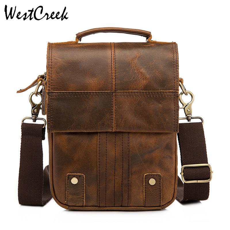 a03da65fbae WESTCREEK Brand Genuine Leather Men Messenger Bag Crazy Horse Leather  Vintage Crossbody Bags Small Men'S Handbags Shoulder Bags Messenger Bags  Satchel From ...