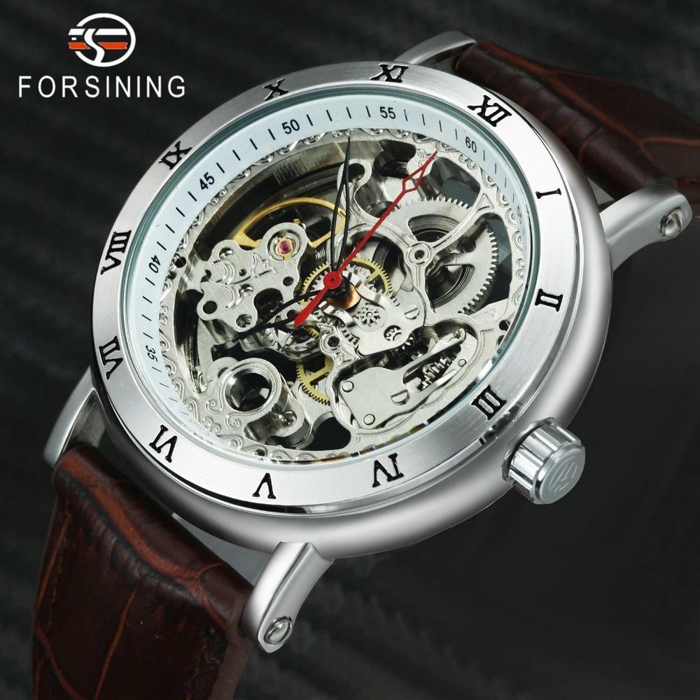Compre Forsining 2019 Fashion Dress Auto Reloj Mecánico Para Hombre  Skeleton Dial Correa De Cuero Clásico Para Hombre Relojes De Primeras Marcas  De Lujo ... 6cf1852face6