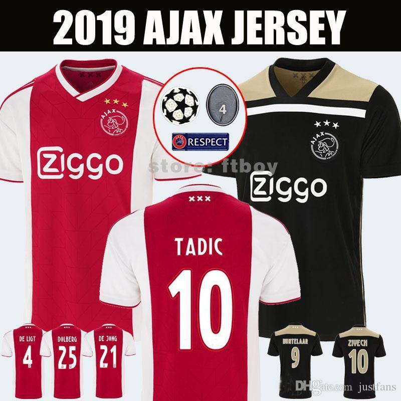 712b4a02b 2019 18 19 Ajax Soccer Jersey DE JONG DE LIGT Ajaxa Msterdam Camiseta Fútbol  VAN DE