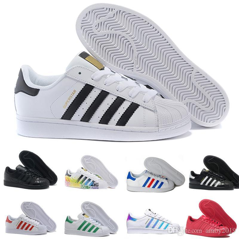 2019 Super Star Branco Holograma Iridescente Junior Superstars 80 s Pride Womens Mens Formadores Superstar Sapatos Casuais Tamanho 36-45