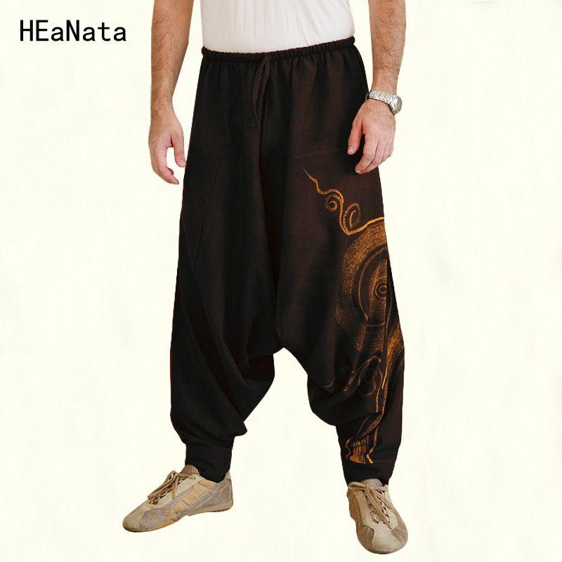 07c3493de Hombres Joggers Indio Pantalones Harem Tallas Grandes Entrepierna  Pantalones Nepal Baggy Hippie Baggy Cordón Casual Yoga Punk