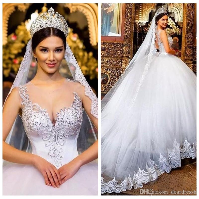 2019 Sheer Neckline Lace Appliques Ball Gown Wedding Dresses Beads Crystal Lace Appliques Chapel Train Back Plus Size Formal Bridal Gowns