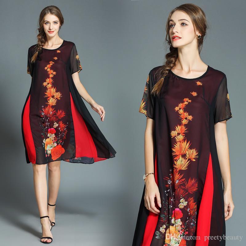 d13c5e31e55d 2019 Summer Casual Dresses Women Print Chiffon Loose Vintage Dress Short  Sleeve A Line Dress Plus Size Clothes From Preetybeauty