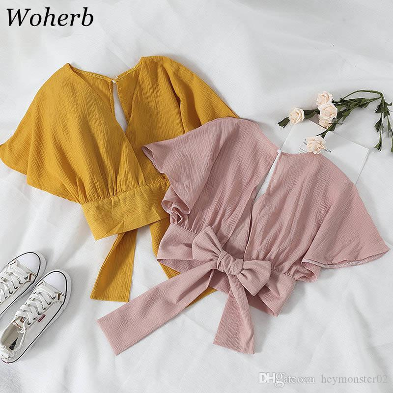 2019 Summer Short Sleeve Blouse Women Crop Tops Elegant Back Bow Bandage Shirt Ladies Backless Kawaii Blusas 20904