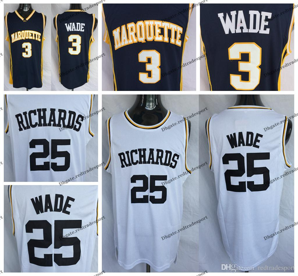 0f21aaaae73 2019 Mens Marquette Golden Eagles Dwyane Wade 3 College Basketball Jerseys  Vintage 25 Dwyane Wade Richards High School Stitched Basketball Shirts From  ...