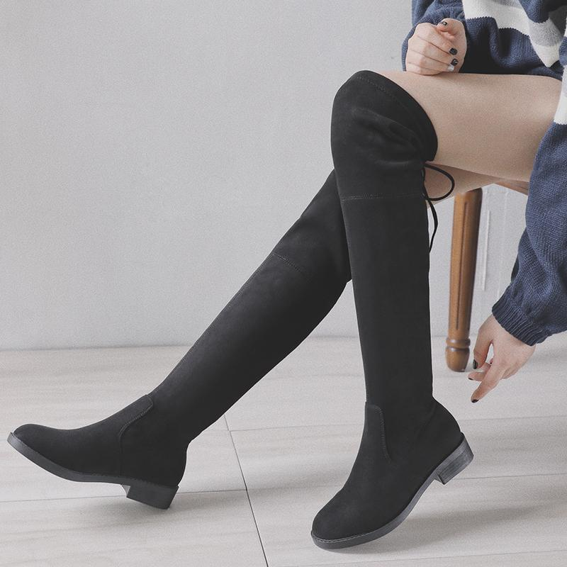 e267e37e315 GOXPACER Over Knee Boots Bow-tie Women Casual Boots Flock Low Heel Fashion  Stretch Fabric Long Tube Comfortable All Match Winter