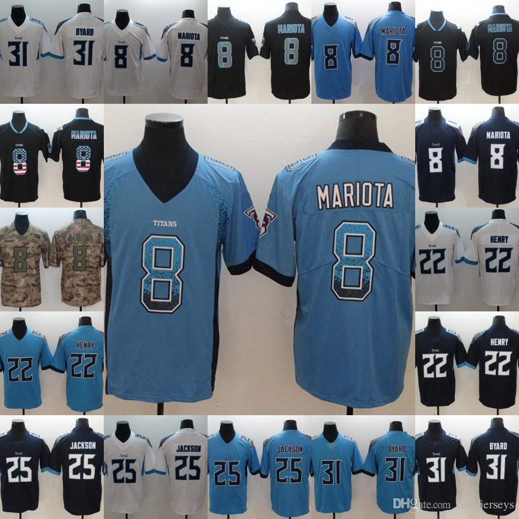 pick up 84022 77b52 2019 Titans New Mens 8 Marcus Mariota 25 Adoree Jackson 31 Kevin Byard 22  Derrick Henry jerseys Free Shipping men Football Jerseys