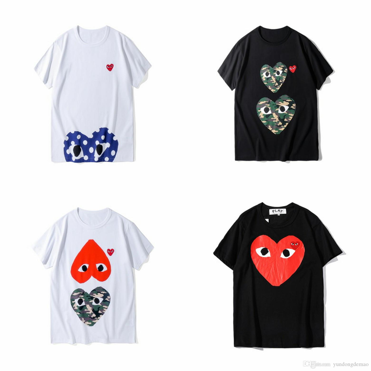 Lover Newest BestQuality Gray Heart Emoji PLAY Summer Japanese tide brand men's women's T-shirt cotton tee peach White grey 2 color