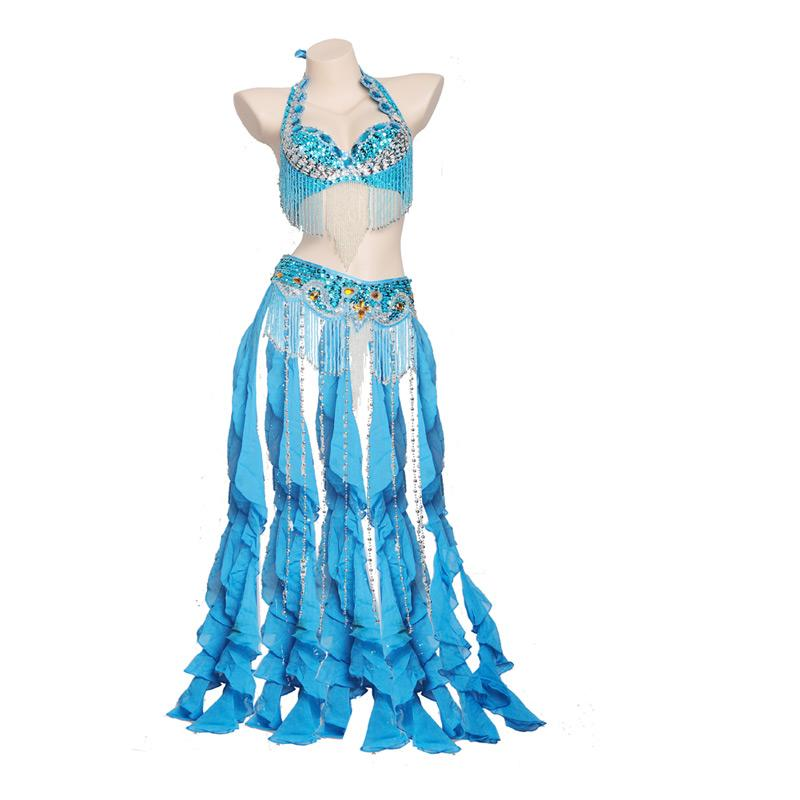 New Women Belly Dance Costume Outfit Set Belly Dance Bra Top & Belt Hip Scarf 2 Pieces Suit Ladies Bollywood Clothes