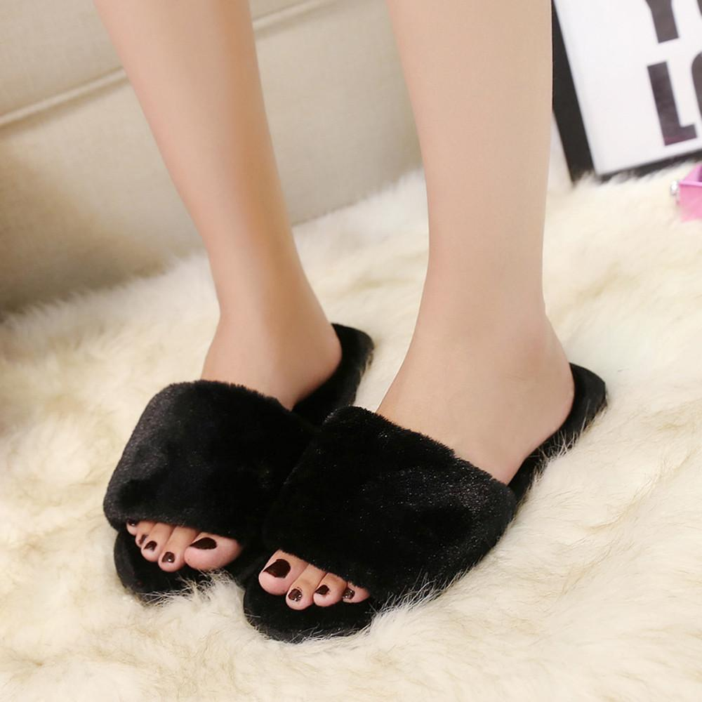 f30d016f3caf 2019 New Womens Fashion Light High Quality Women Girls Ladies Slip On Sliders  Fluffy Faux Fur Flat Slipper Flip Flop Sandal   Cheap Shoes Riding Boots  From ...