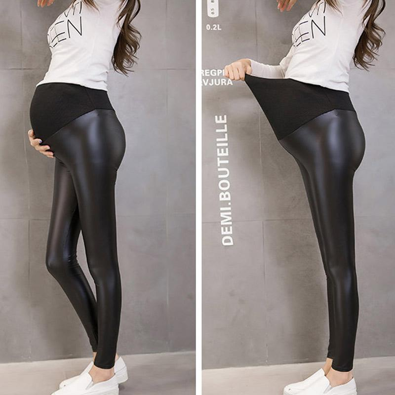 7608be97ee5b5e 2019 Pregnant Women Autumn Leather Trousers Fleece Lined Elastic Skinny Pencil  Pants BM88 From Paradise13, $21.32 | DHgate.Com