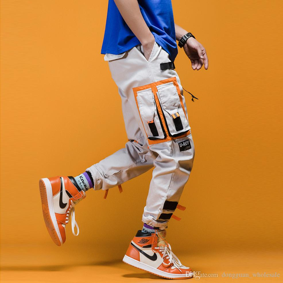 Track Pants Man Color Block Pockets 2019 Spring Hip Hop Fashion Harem Streetwear Fashion Jogger Casual Trousers
