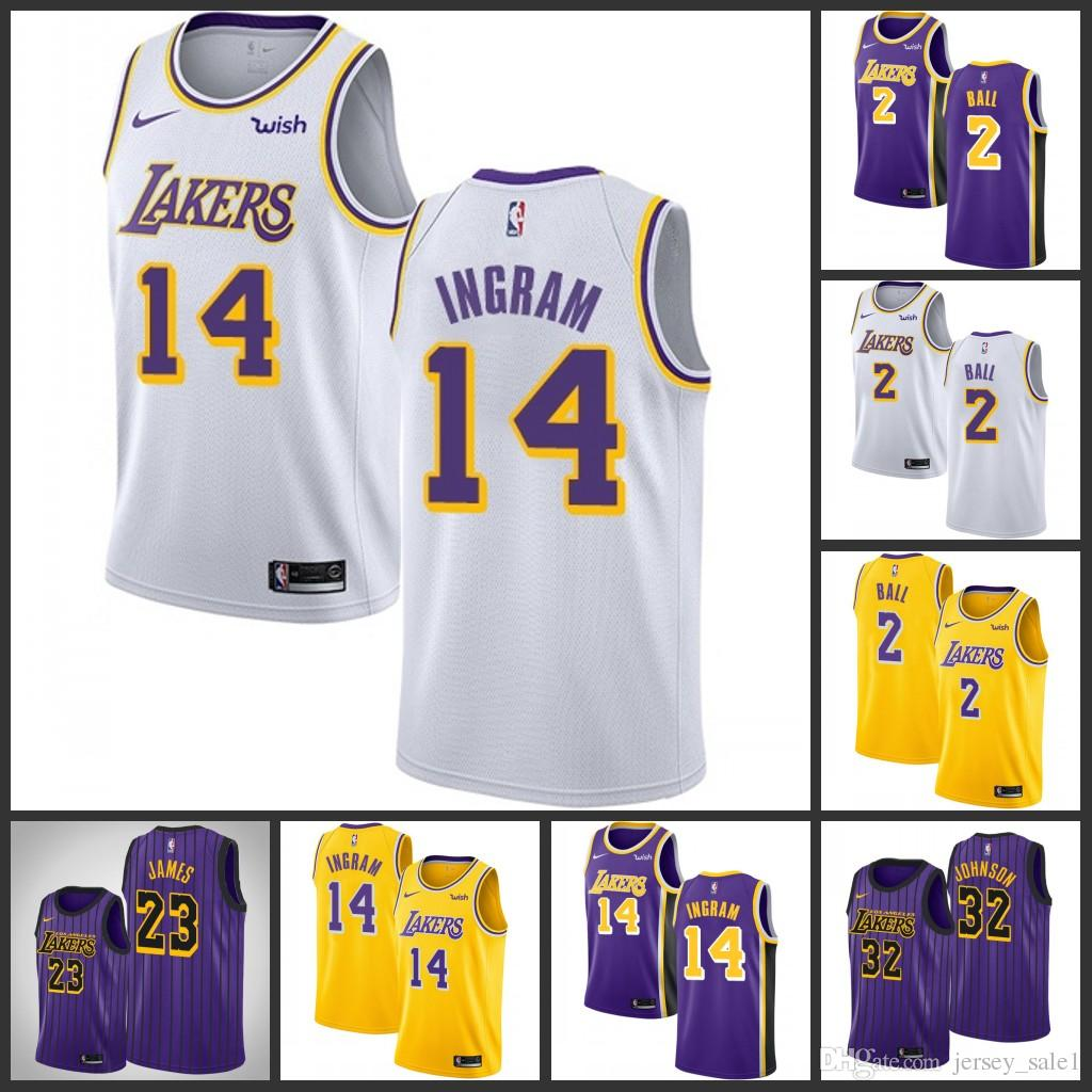 80b5201340f 2018-2019 New Season Purple 23 LeBron James 14 Ingram 2 Ball Jersey ...