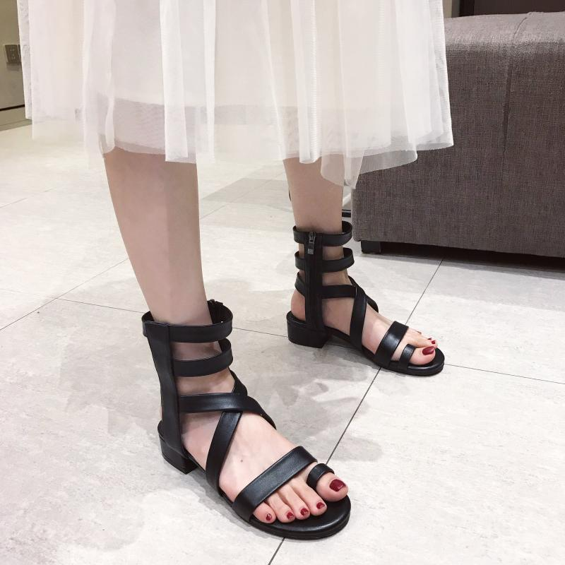 Lovely2019 Toe Set Comfortable Crossing Fasciola Rome Women's Shoes Side Zipper Flat Bottom Sandals