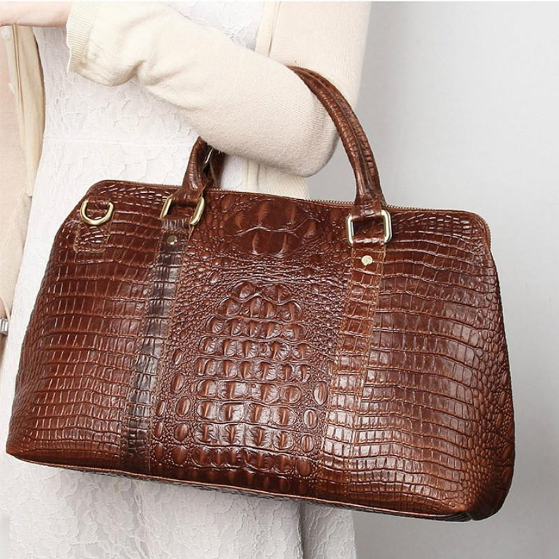 Crocodile Pattern Cowhide Leather Travel Luggage Bag 677e798ab8e38