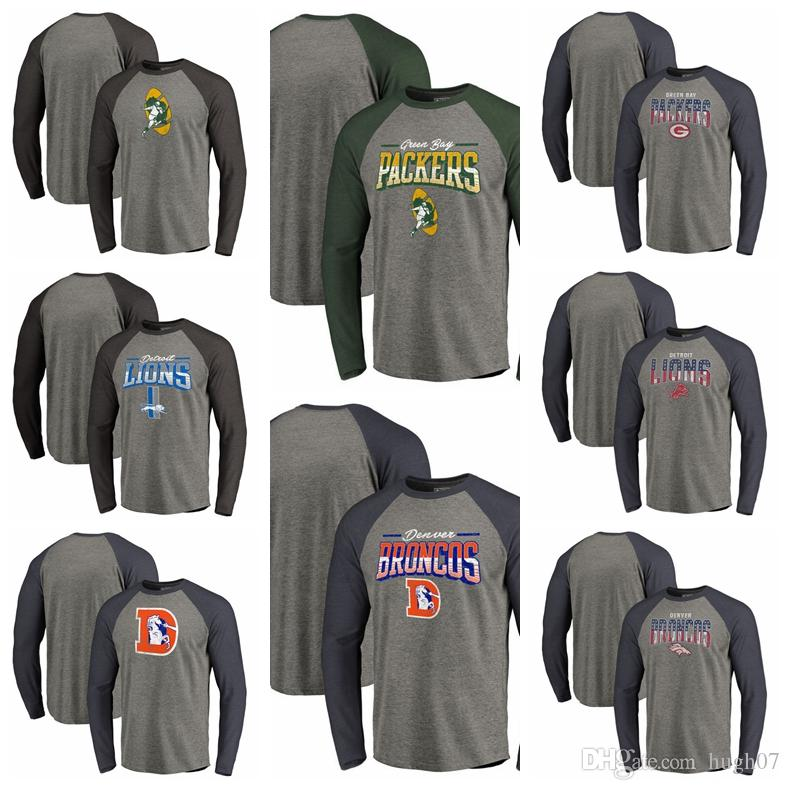 los angeles e90b9 286be Green Bay Packers Detroit Lions Denver Broncos Pro Line by Fanatics Branded  Logo Big & Tall Long Sleeve Tri-Blend Raglan T-Shirt