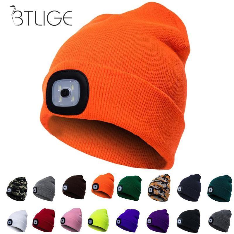 d6b92e81b3eb9 2019 Unisex LED Beanie Hat With USB Rechargeable Battery Women Men Camping  Running Skiing Bonnet Skullies Caps Knitting Woolen Hat From Pekoe