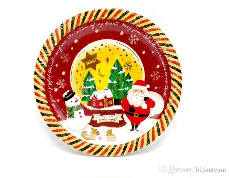 Christmas hot paper trays, high-grade disposable paper trays, Christmas dinner party supplies 18cm a package of 6 Wholesale