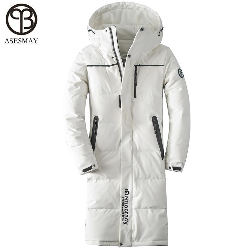c899e6c0f1c 2019 Asesmay 2018 Men Down Jacket Men Winter Coat Goose Feather Long Winter  White Down Jackets Thickening Warm Casual Men S Parkas From Beasy112