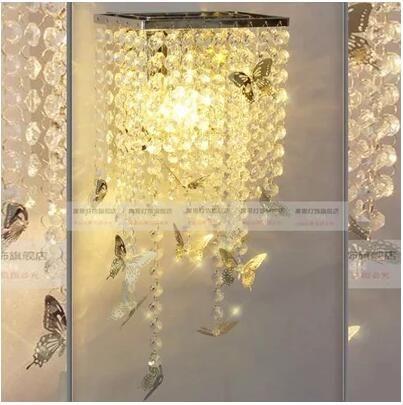 Américain De Inox Chevet Lampe Porche En Papillon Européen L Restaurant Rest Led Pastorale Chambre Cristal dthQCxsr