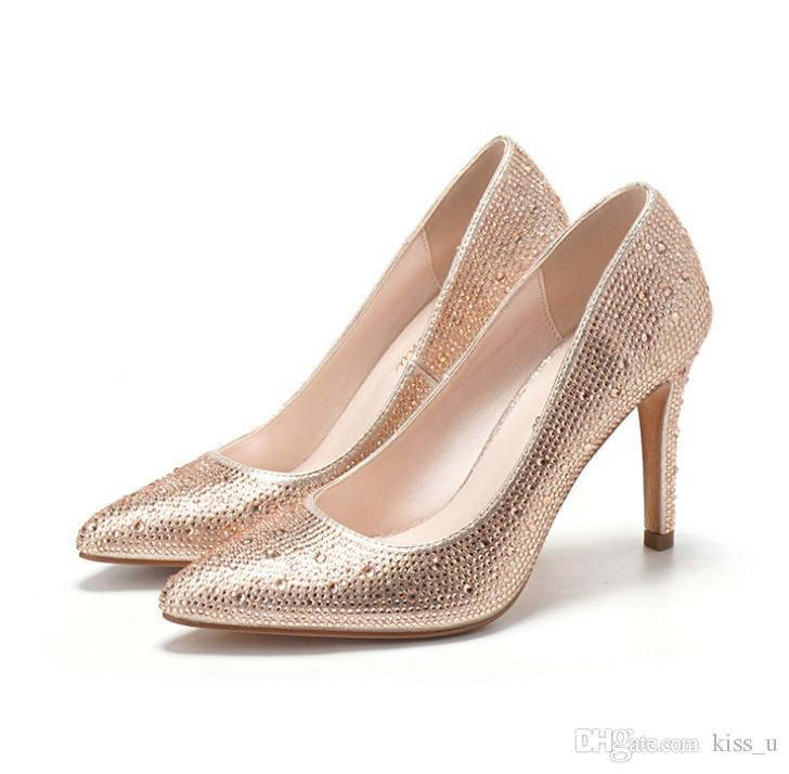 221d4c72e3 Compre 2019 Bombas De Abalorios Para Mujer Zapatos De Tacón Alto Para Mujer  Zapatos Con Diamantes De Imitación Atractivos Tacones Con Punta Estrecha  Zapatos ...
