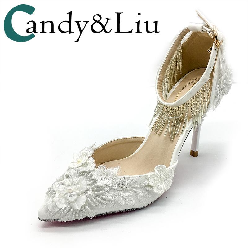 ae6bfaf5c5a Wedding Shoes Lace Flowers Pearls Tassel 5cm 9 Cm High Heels Personalized  Custom Color To Match Bride Dress Beading Embroidery Online with   96.17 Piece on ...