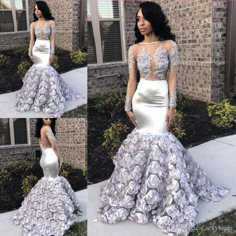 6a1e36363040a ... Mermaid Prom Dresses Long 3D Flowers Lace Appliques Sheer Long Sleeves  Beaded See Through Silver Evening Party Gowns Crazy Prom Dresses Cream Prom  Dress ...