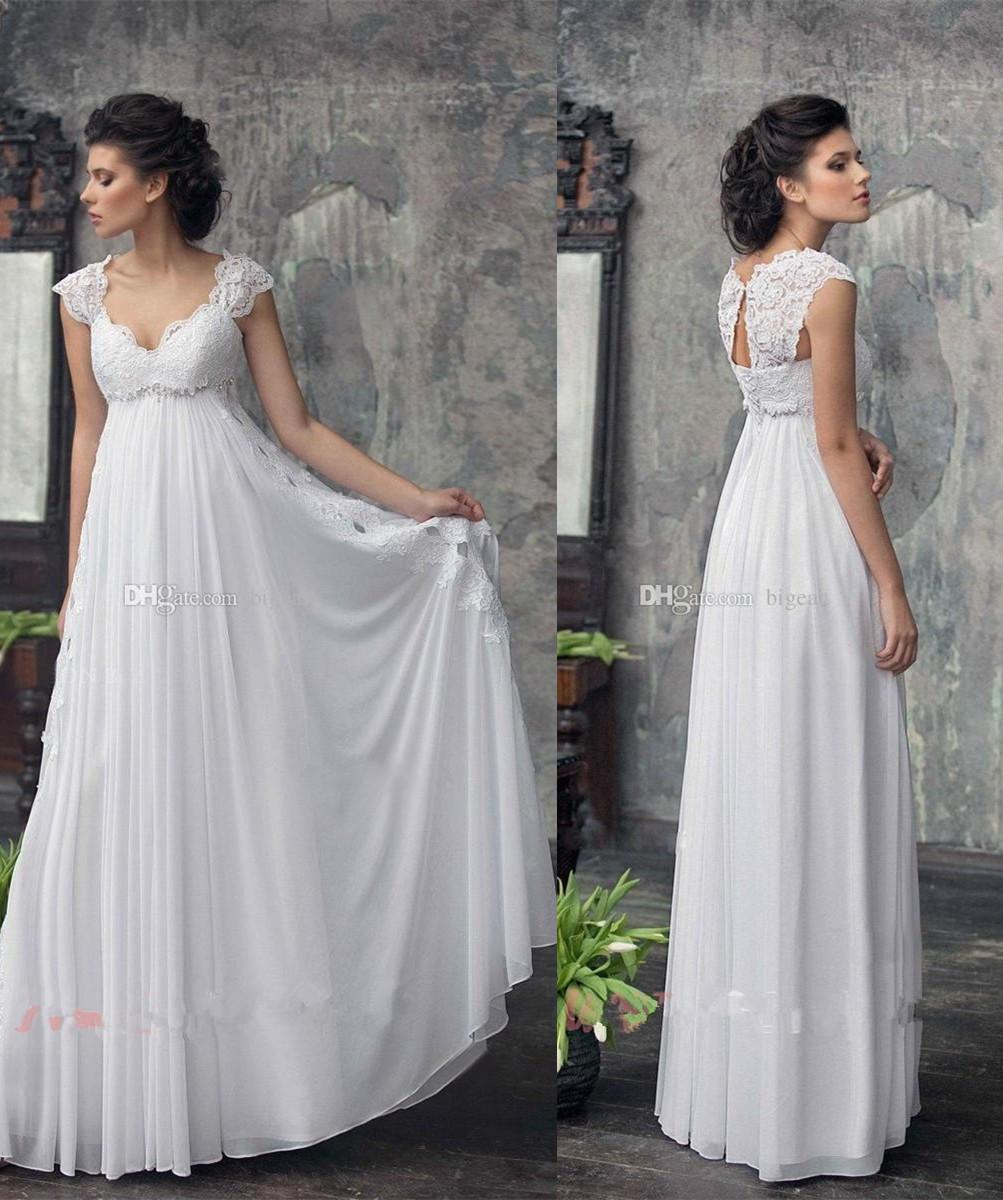 Lace Cap Sleeves Empire Waist Maternity Wedding Dress With Flowy