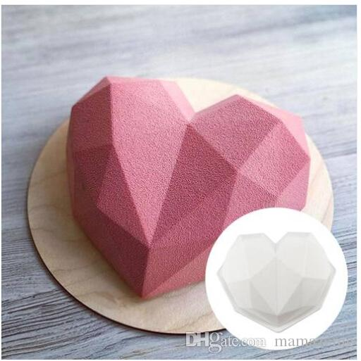 Wholesales Free shipping Hot sales 2019 3D Diamond Heart Mold Chocolate Sponge Cakes Silicone Molds