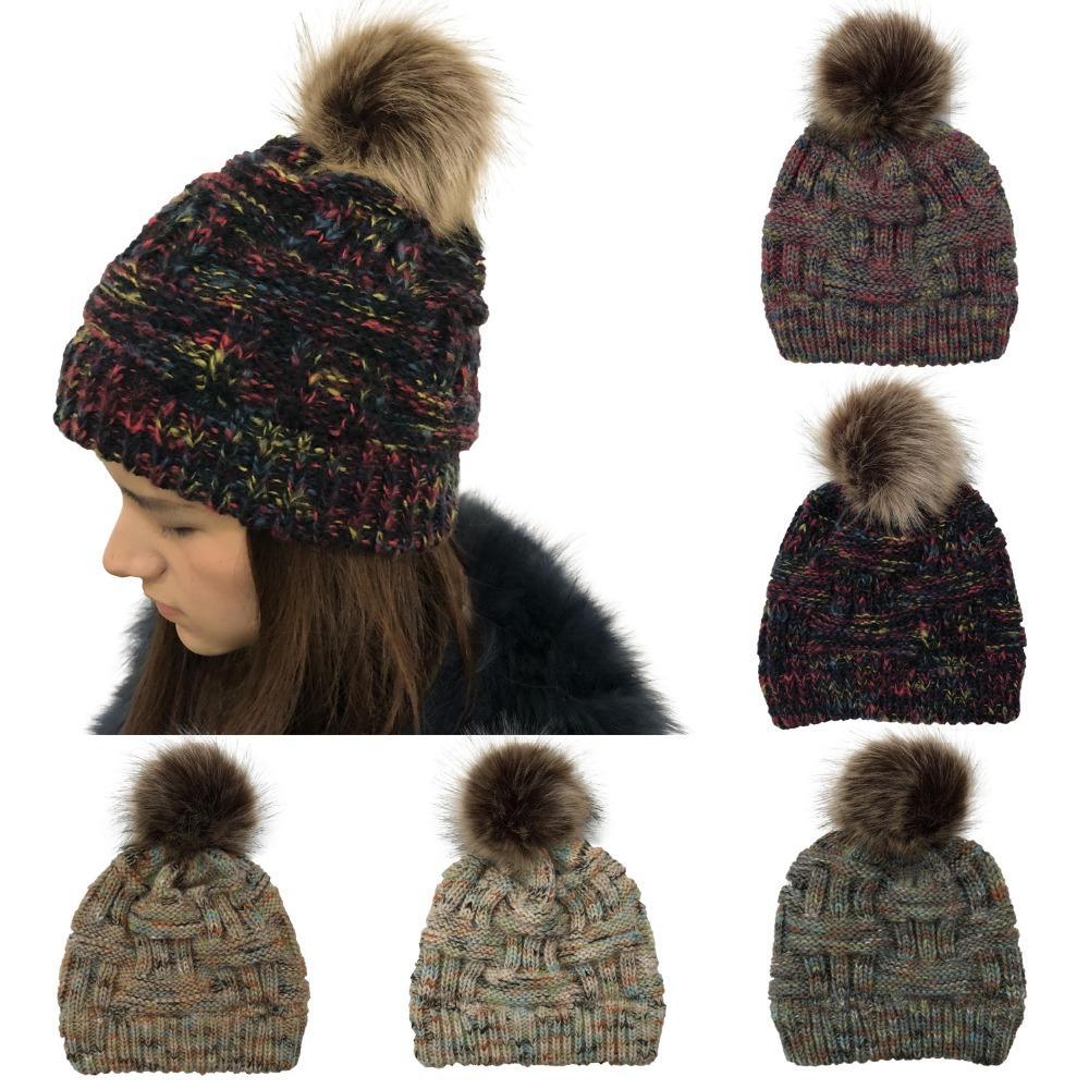 0ac117db2 Women s Beanie CC hats with Faux Fur Pompom Ball winter warm Bamboo  Knitting Rainbow caps bonnet femme